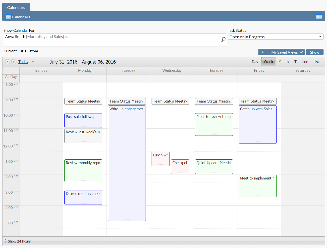 project tracking calendar
